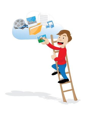 representing a cartoon vector with funny man uploading some photos on a storage cloud hosting