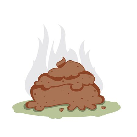 rudeness: a vector representing a funny cartoon poo, brown color, on a white background Illustration