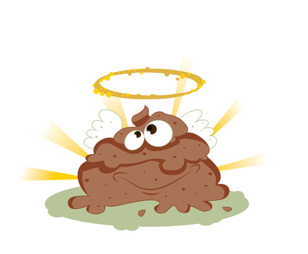 a vector representing a funny smiling cartoon holy shit with eyes and mouth, brown color with wings in golden halo on a shiny rays background.