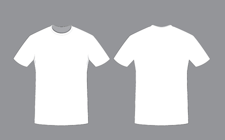 in vector cartoon representing a white cotton man t-shirt on gray background template, Front and back sides. Copy space.