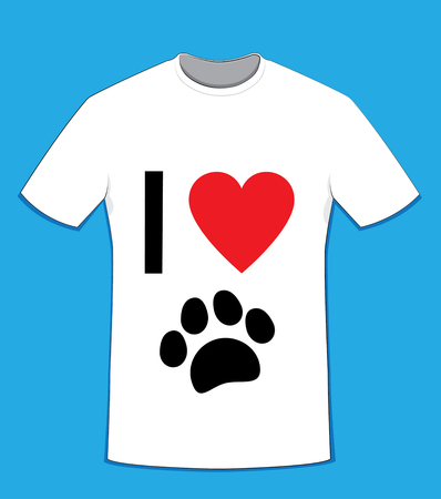 in vector cartoon representing a white cotton t-shirt on a blue background, I love text on front side and a black paw - love dogs concept Illustration