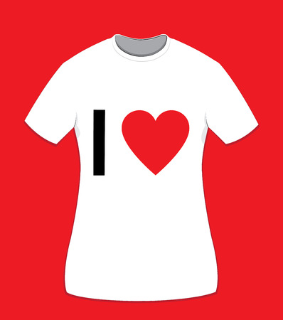 in vector cartoon representing a white cotton t-shirt for women on a red background, I love text on front side and copy space to customize it