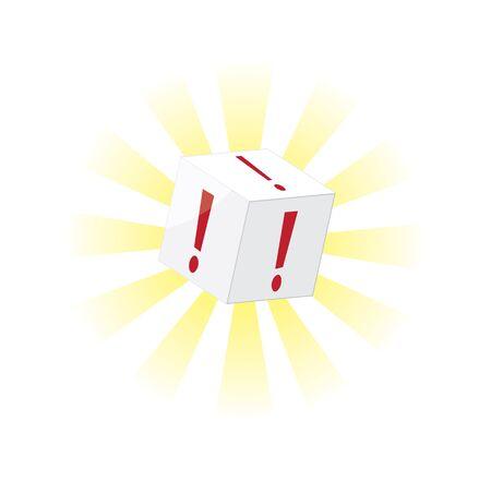 says: an exclamation mark cube