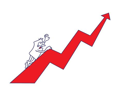 height chart: a funny man climbing an arrow chart Illustration