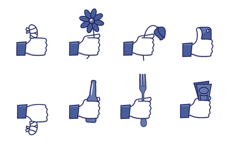 hands up: a set of funny icons - social network hands