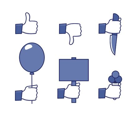 a set of funny icons - social network hands