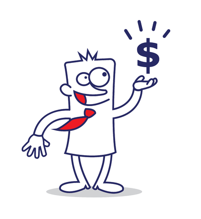 panting: a funny business man and a dollar sign