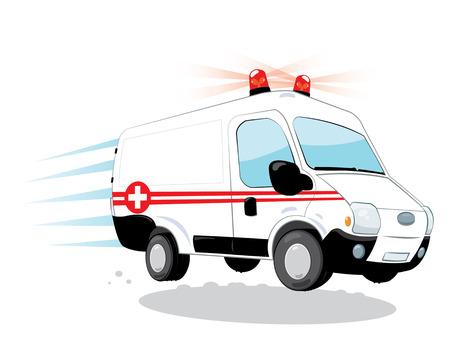 einen Cartoon-Vektor mit lustigen Krankenwagen eilen darstellt