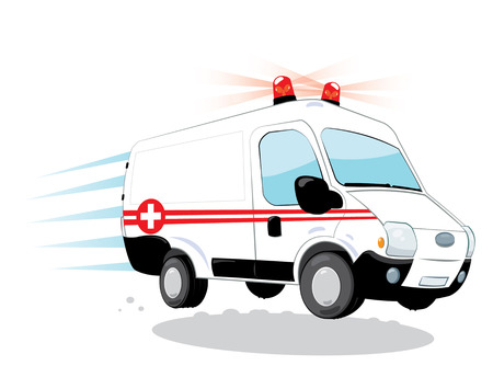 representing a cartoon vector with funny ambulance hurrying
