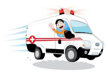 in vector cartoon representing a funny ambulance driver, hurrying and driving Çizim
