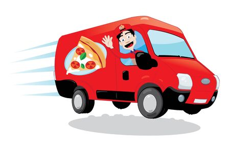 driven: in vector cartoon representing a funny pizza delivery van driven by a friendly man cheering Illustration