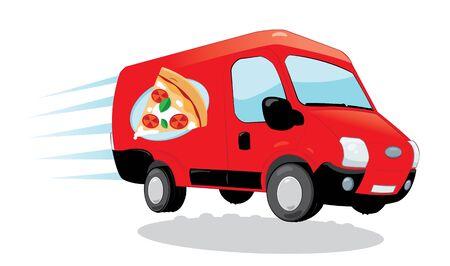 en dibujos animados vector que representa una furgoneta de reparto de pizzas divertido