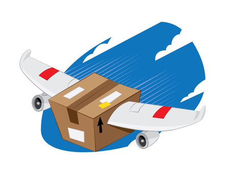 a vector representing a funny cartoon package-winged plane landing, fast and express delivery concept.
