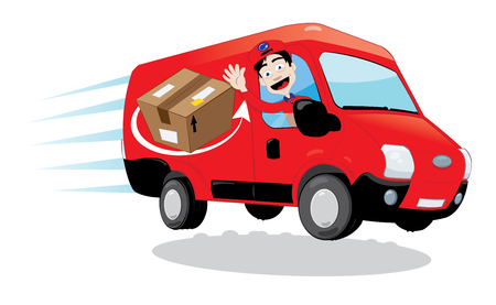 in vector cartoon representing a funny and friendly delivery man cheering and driving a red delivery van - fast shipping concepts.