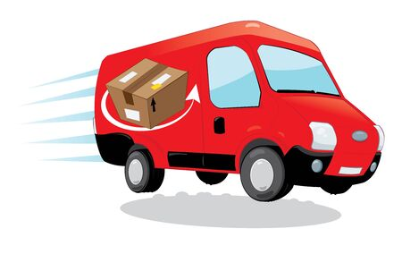 in vector cartoon representing a funny red courier van running and delivering some packages- fast shipping concept Illustration