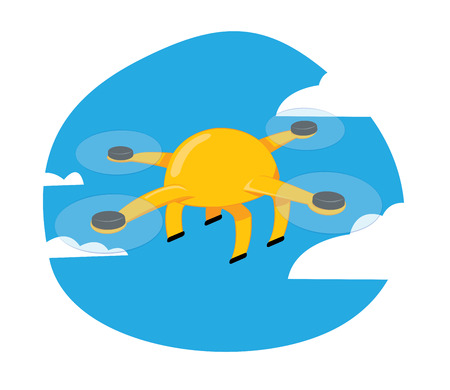 in vector cartoon representing a funny yellow drone flying on a blue cloudy sky background. Illustration
