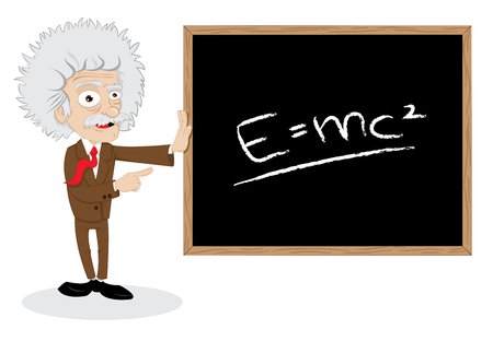 in vector cartoon representing a funny professor showing a blackboard with a formula