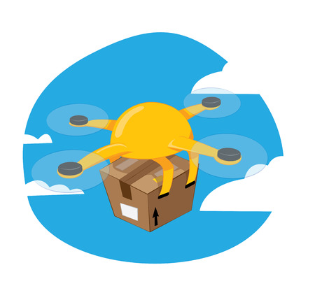 a funny cartoon vector representing a yellow shipping drone flying and carrying a brown box, fast delivery concept.