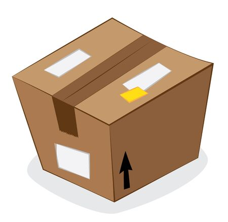 in vector cartoon representing a funny stilized brown carton package isolated on white, on a gray shadow