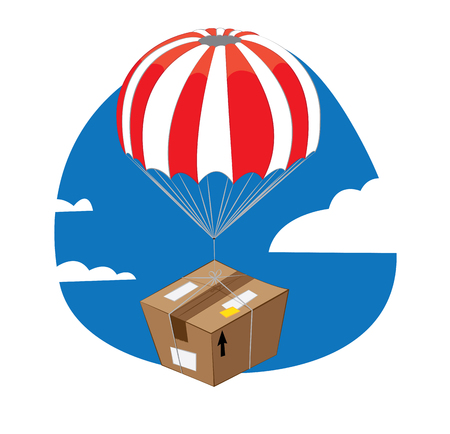 in vector cartoon representing a funny brown package with parachute falling down from a blue sky and landing slowly