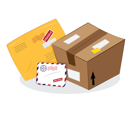 a cartoon vector representing a set of postal products: a brown carton package, sending a yellow envelope, an airmail letter
