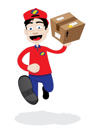 in vector cartoon representing a young friendly and smiling courier carrying a brown package ready to be delivered.