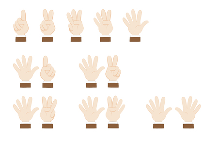in vector cartoon representing a set of human hands and posing showing numbers, from 1 to 10