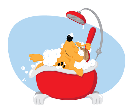 A vector cartoon representing a cute funny dog ??taking a bat in a bathtube and using a backscrubber - pet grooming concept