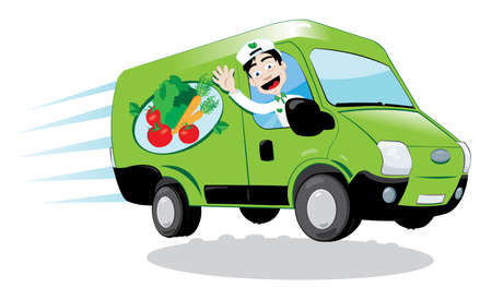 A vector cartoon representing a funny green fresh food delivery is driven by a friendly man cheering.
