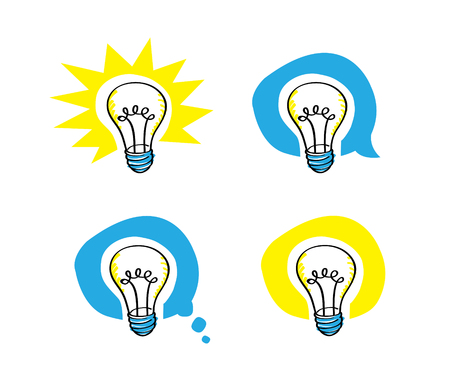 a vector cartoon representing a pen as scribble lightbulb, in four different balloons background, including a speech balloon and a thought balloon