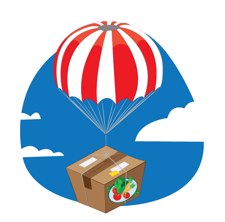 a vector cartoon representing a carton pack of fresh vegetables and fruit landing from the sky with a funny red and white parachute - online order and very fast shipping concept