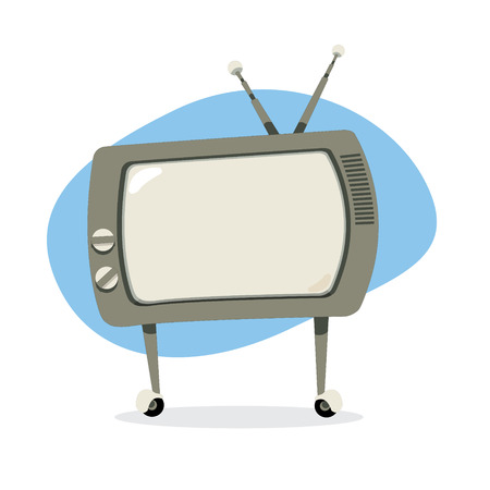 A vector cartoon representing a funny vintage retro television with copy space