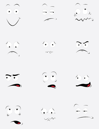 A vector cartoon representing a funny set of different expressions and behavior.