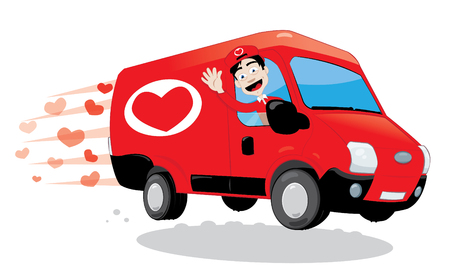 a vector cartoon representing a funny courier driving and delivering a red van with love, heart shape logo on it. Image useful for Saint Valentine or wedding greeting cards. Love concept.