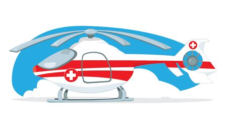 Vector cartoon representing a red and white medical helicopter. Illustration