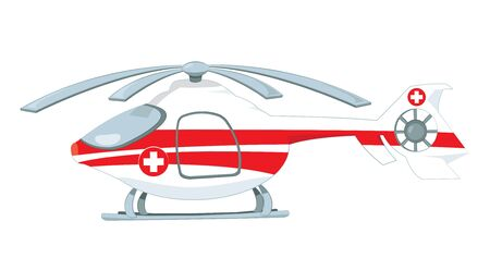 vector cartoon representing a red and white medical helicopter.