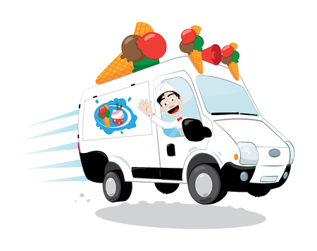 a cartoon vector representing a funny and decorated ice-cream van, with cones and a logo, driven by a cheerful ice-cream