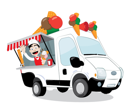 A vector cartoon representing a funny ice-cream van parked and open, a friendly and smiling ice-cream man is serving a big flavored cone Stock Illustratie