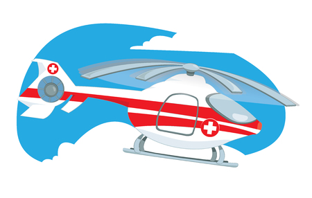Vector cartoon representing a medical helicopter