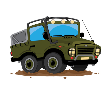 a vector cartoon representing a funny green military car Illustration