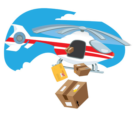 a cartoon vector illustration of a flying delivery helicopter flying in the sky and sending some postal products