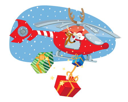 A vector cartoon representing a funny Santa Claus and a reindeer with a helper flying in a decorated helicopter Ilustração