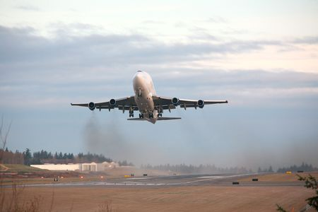 paine: Boeing Dreamlifter Takes Off From Paine Filed, Everett, Washington Stock Photo