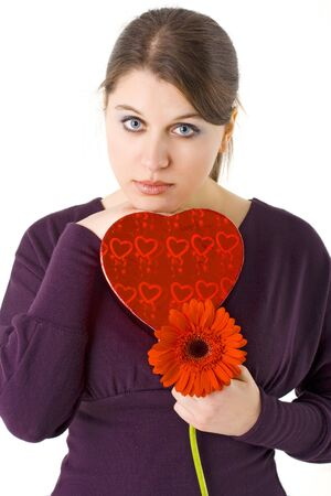 woman holding heart shaped gift box and flower for Valentines day Stock Photo - 4089191