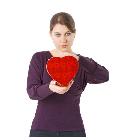 woman holding heart shaped gift box for Valentines day Stock Photo - 4089132