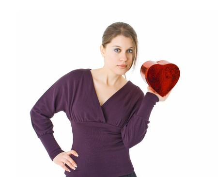 woman holding heart shaped gift box for Valentines day Stock Photo - 4089154