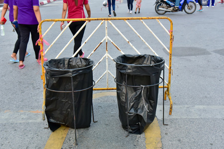 garbage bag: Trash applied by steel covered with a garbage bag