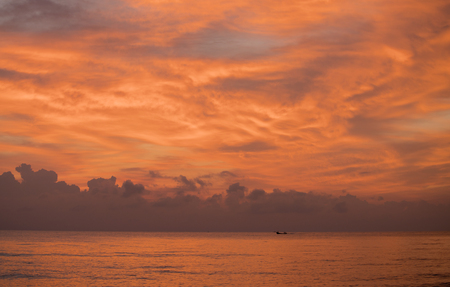 Sunrise on the sea in the beautiful sky , Songkhla province, Thailand country Stok Fotoğraf