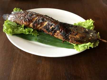 Catfish, grilled crispy delicious flavors popular  sweet with a spicy sauce with a taste for the local cuisine eaten Thailand