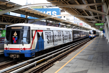Bangkok, Thailand - 13 Aug 2019 : the bts skytrain to travel in Bangkok city
